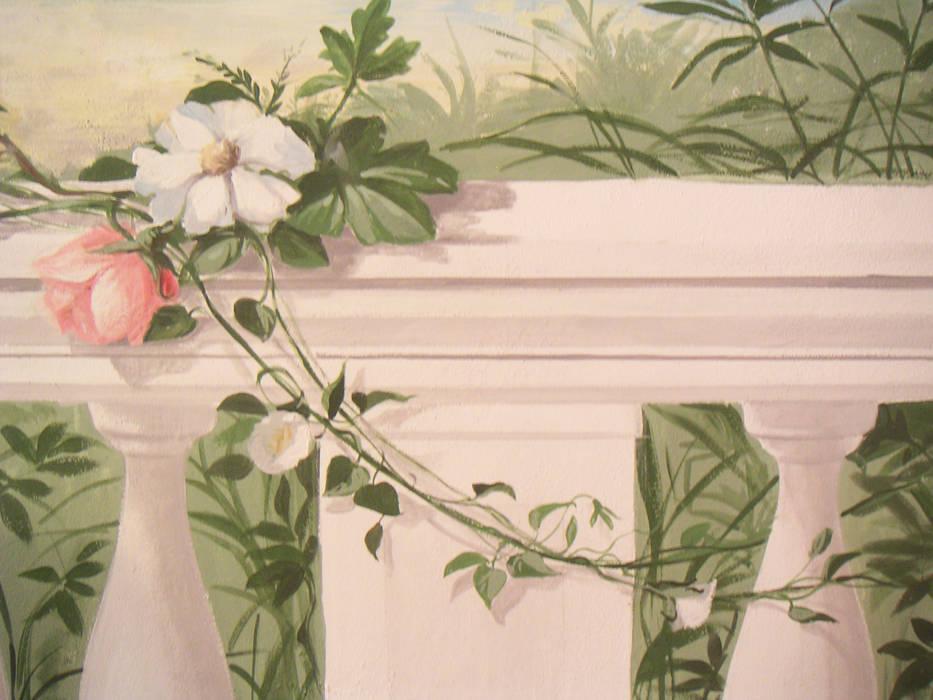 Giardino primaverile.: Soggiorno in stile in stile Classico di erica de rosa, dipinti, affreschi, trompe l'oeil,  decorazioni - Venezia