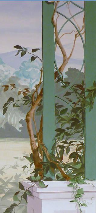 Paesaggio con veduta di Conegliano.: Ingresso & Corridoio in stile  di erica de rosa, dipinti, affreschi, trompe l'oeil,  decorazioni - Venezia