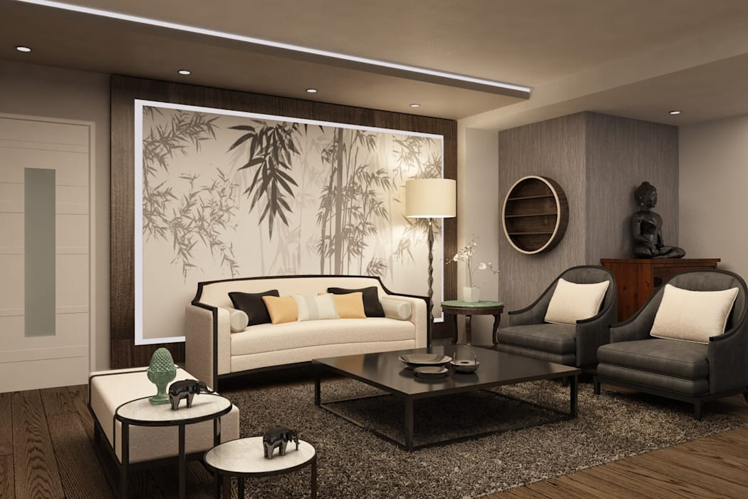 BESSIE Asian style living room by Kuro Design Studio Asian