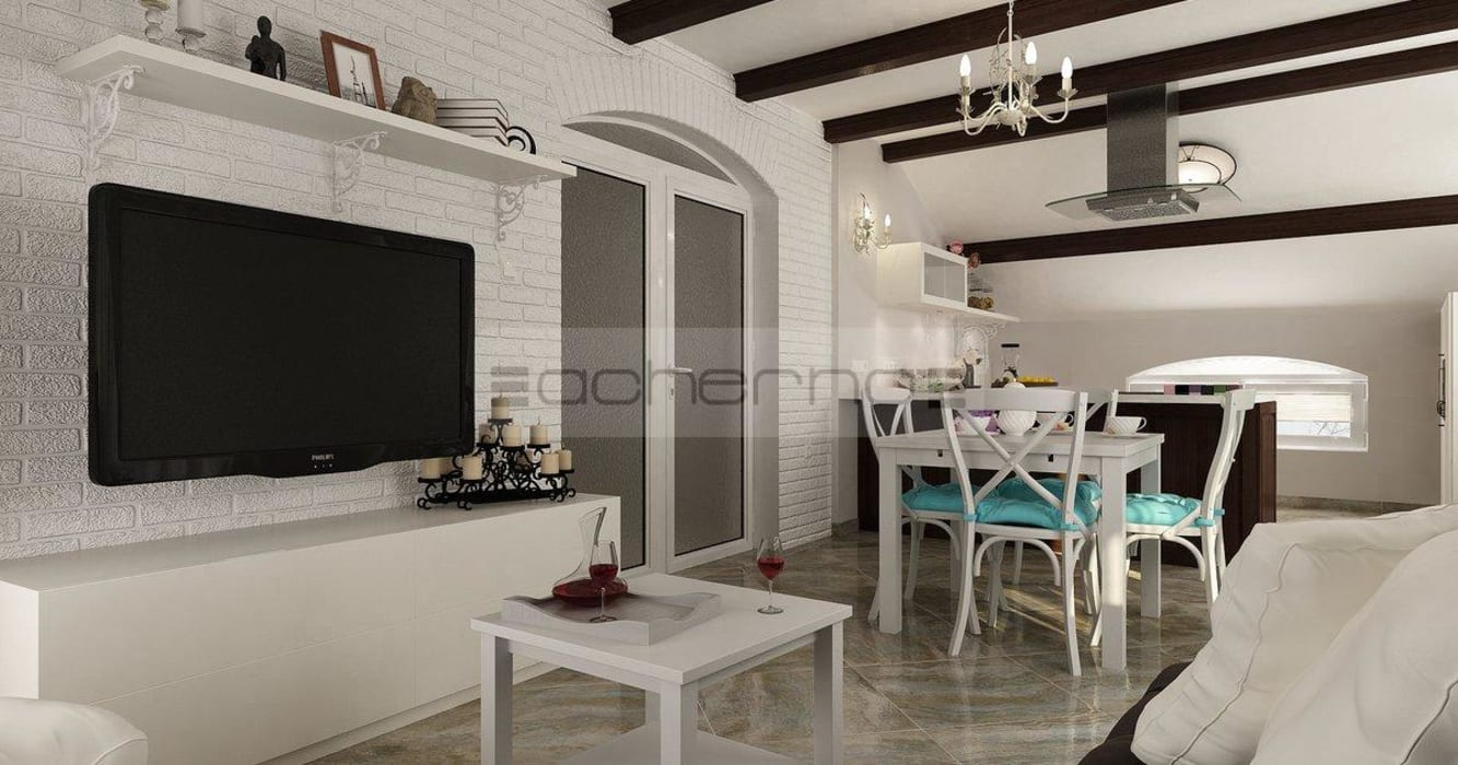 Raumgestaltung sommerhaus in türkis und weiß: wohnzimmer von ...