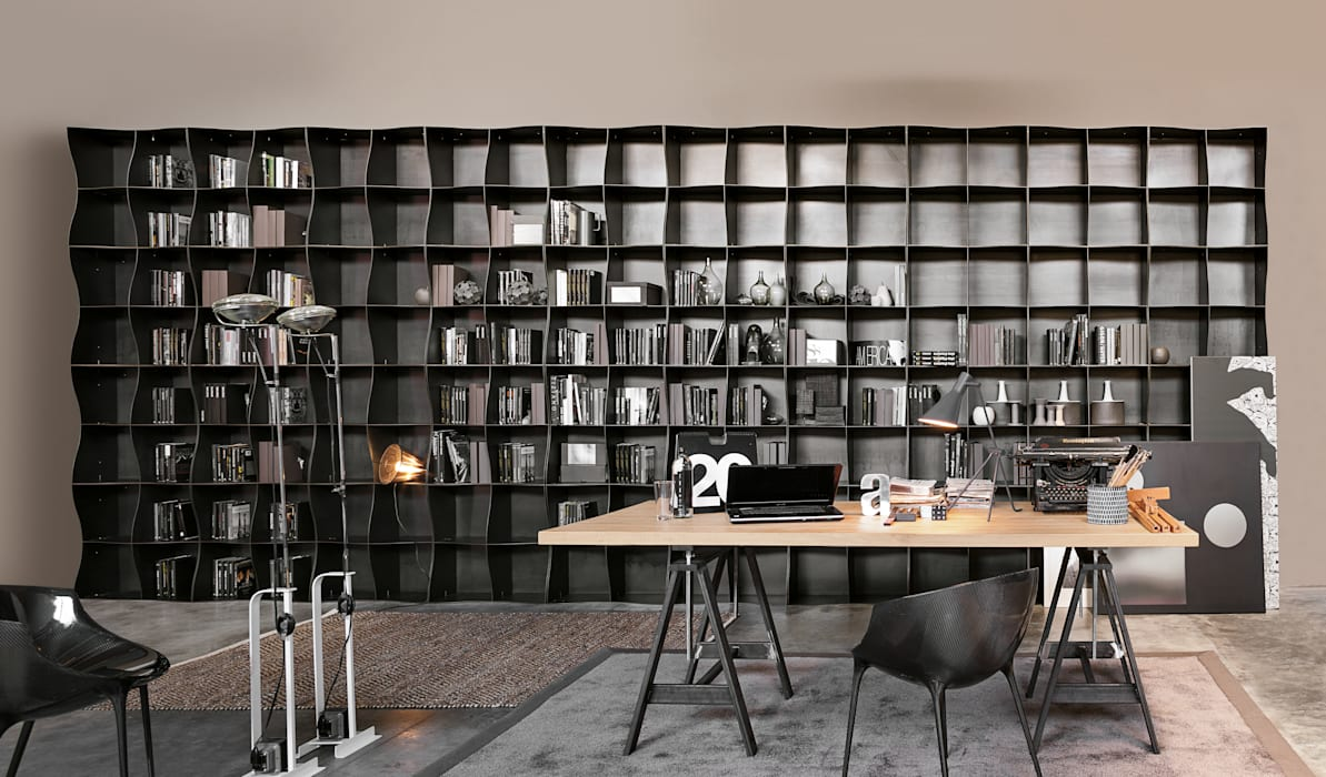 Regał na książki | Ronda Design | Biblioteczka Iron-ic BandIt Design Domowe biuro i gabinetSzafki i regały Żelazo/Stal Czarny