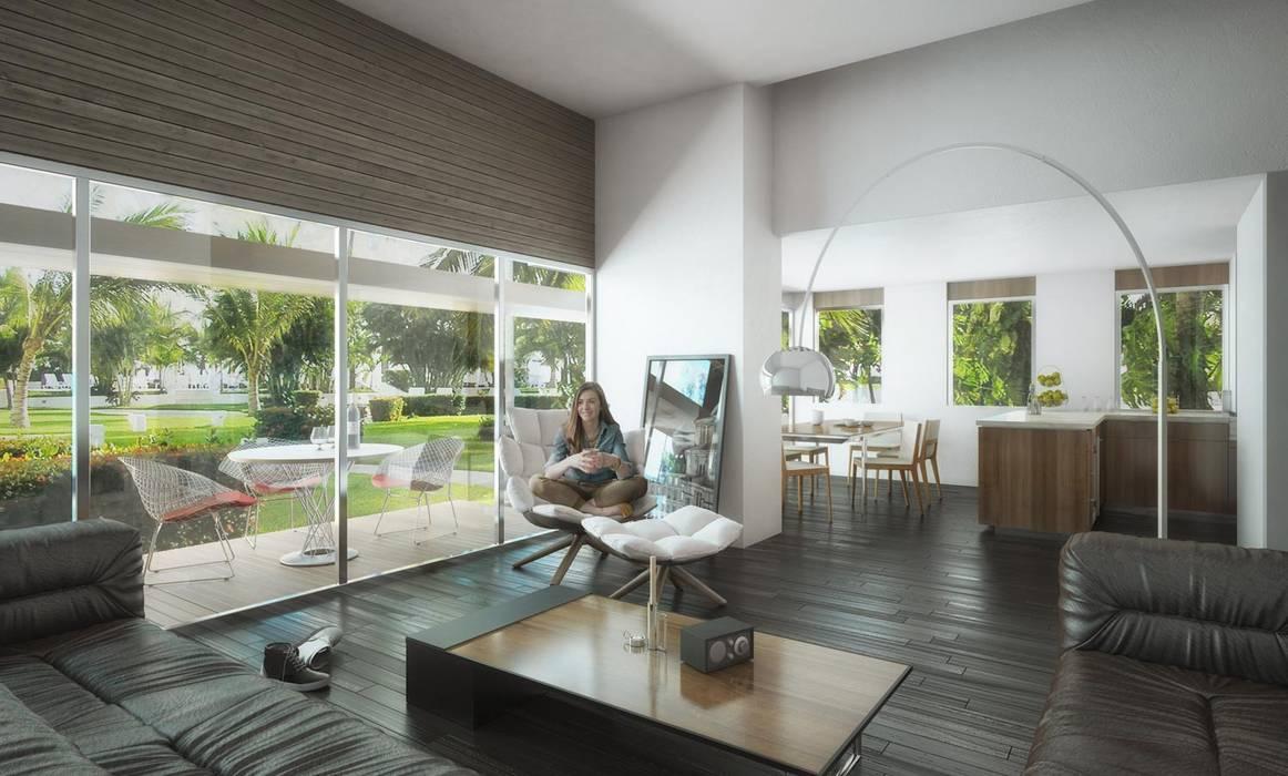 Modern living room by A.flo Arquitectos Modern Concrete