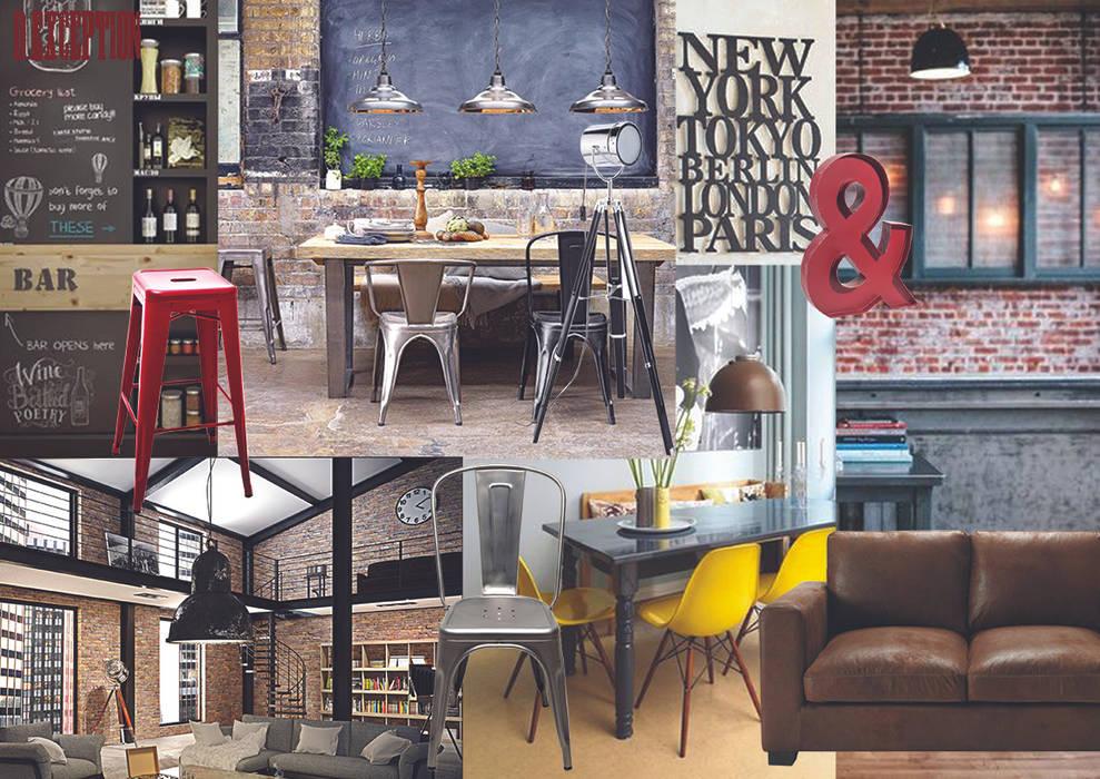 planche ambiance réfectoire style Loft new-yorkais: Salle à manger de style  par D-Exception
