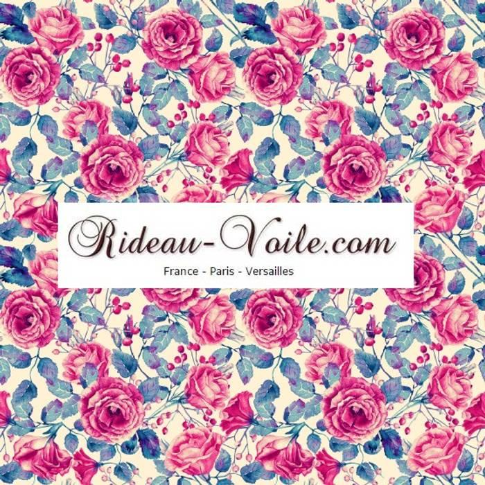 rideau et double rideaux fleurs rose et bleu tissus. Black Bedroom Furniture Sets. Home Design Ideas