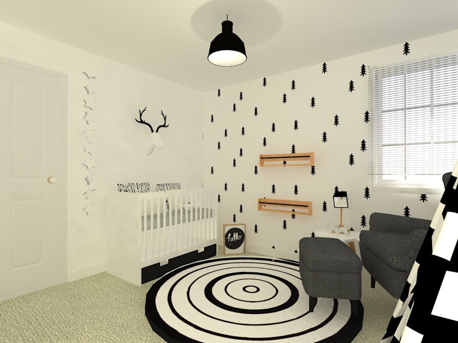 Quarto a preto e branco por This Little Room