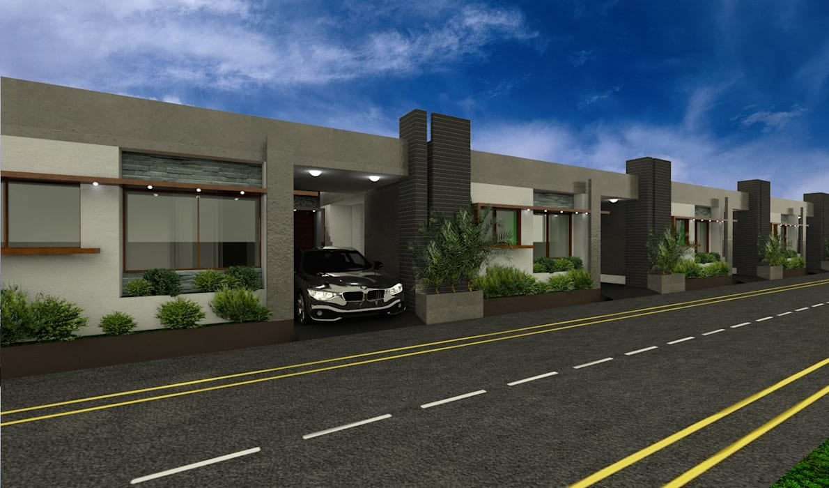 Front elevation Modern houses by Lumous design Consultants Modern