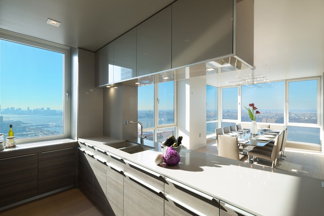 Luxury Apartment Combination Andrew Mikhael Architect Minimalist kitchen Engineered Wood Grey
