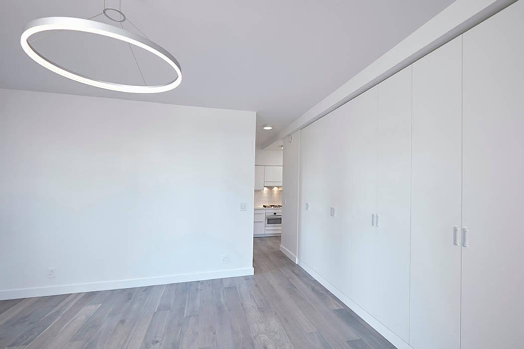Downtown White on White Apartment Andrew Mikhael Architect Minimalist living room White