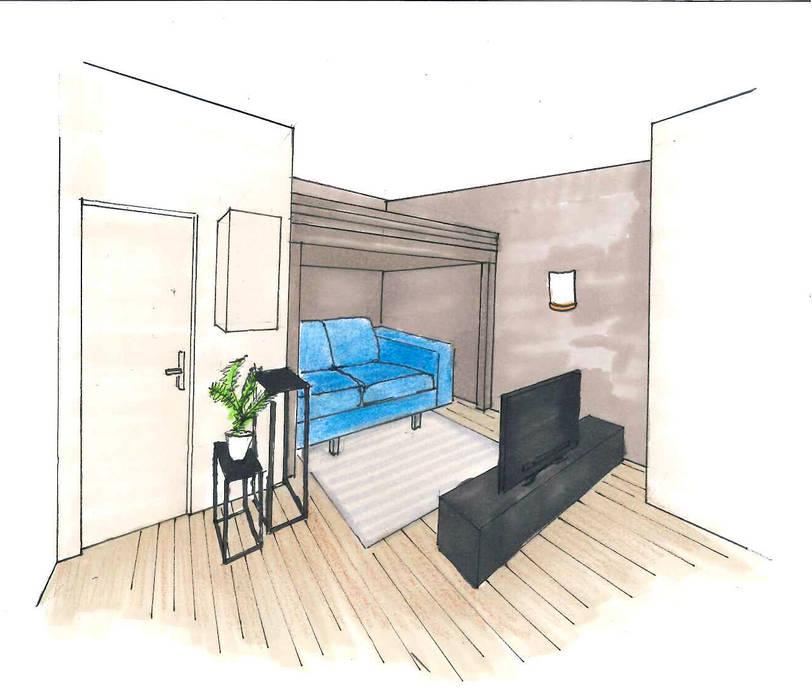 De la couleur pour délimiter les espaces: Salon de style  par Mon Intérieur Sur Mesure (MISM)
