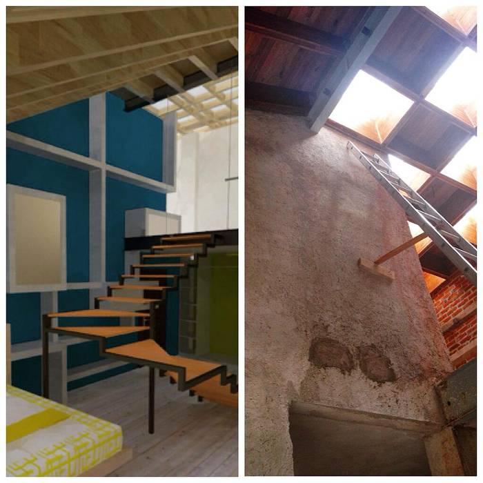 Recámara en Loft. 1: Recámaras de estilo ecléctico por Molcajete Arquitectura Interiores Diseño