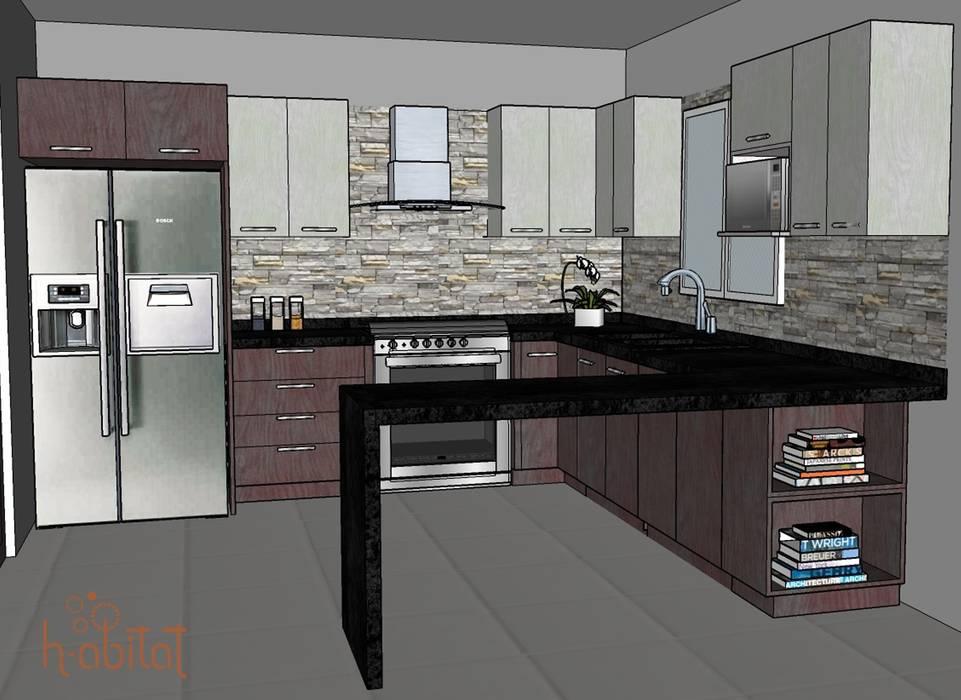 現代廚房設計點子、靈感&圖片 根據 H-abitat Diseño & Interiores 現代風 石器