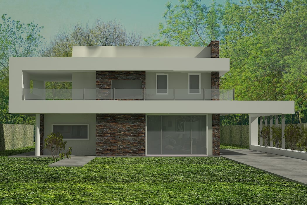 Este proyecto se inicio teniendo como idea principal una cinta blanca q va unificando todas las piezas de la casa. Casas minimalistas de arquitectura siglo XXI Minimalista