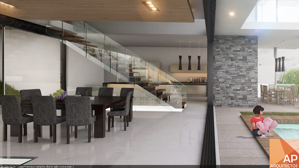 Comedor-escalera-cocina AParquitectos Comedores modernos Piedra Gris