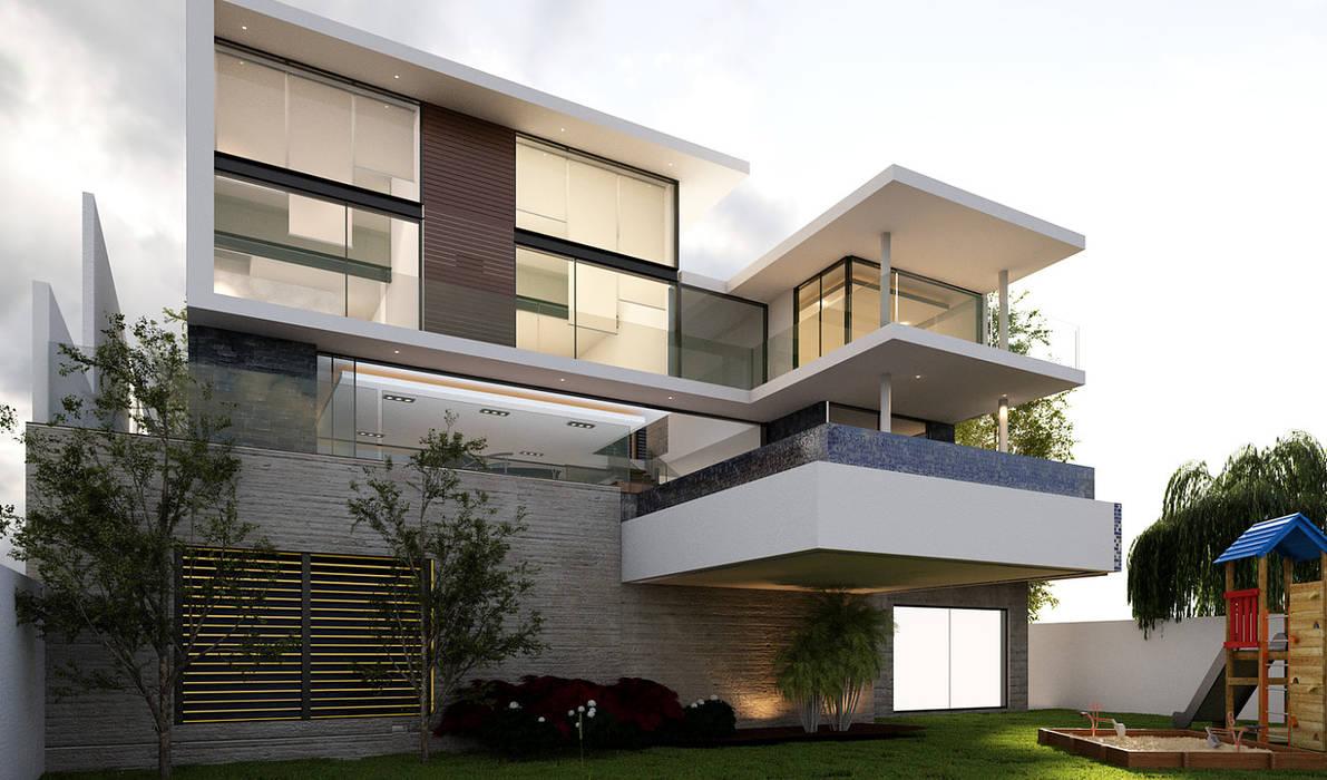 Fachada interior con Alberca volada Casas modernas de AParquitectos Moderno Concreto