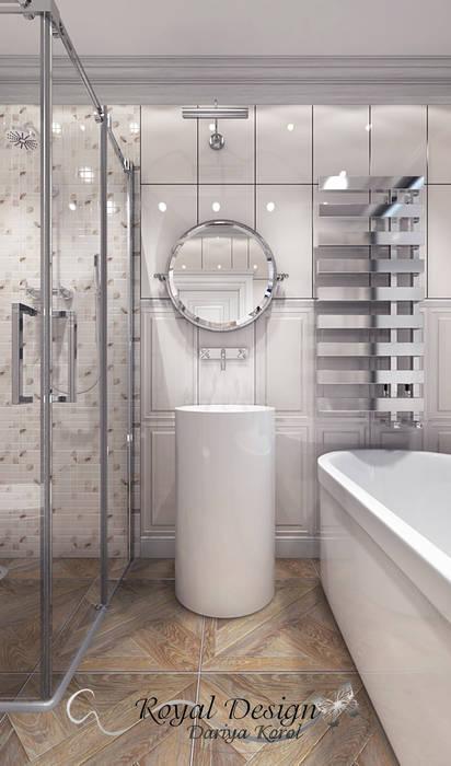 Master bedroom with en suite bathroom Your royal design Ванная в классическом стиле Белый