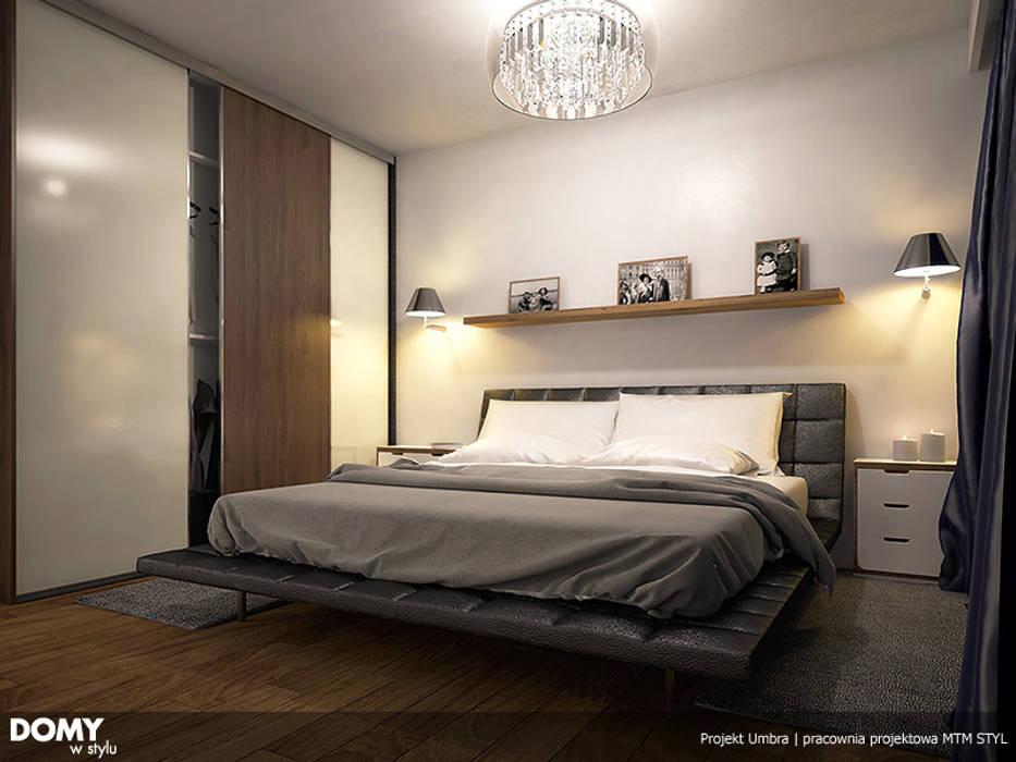Wizualizacja wętrza projektu domu Umbra Nowoczesna sypialnia od Biuro Projektów MTM Styl - domywstylu.pl Nowoczesny