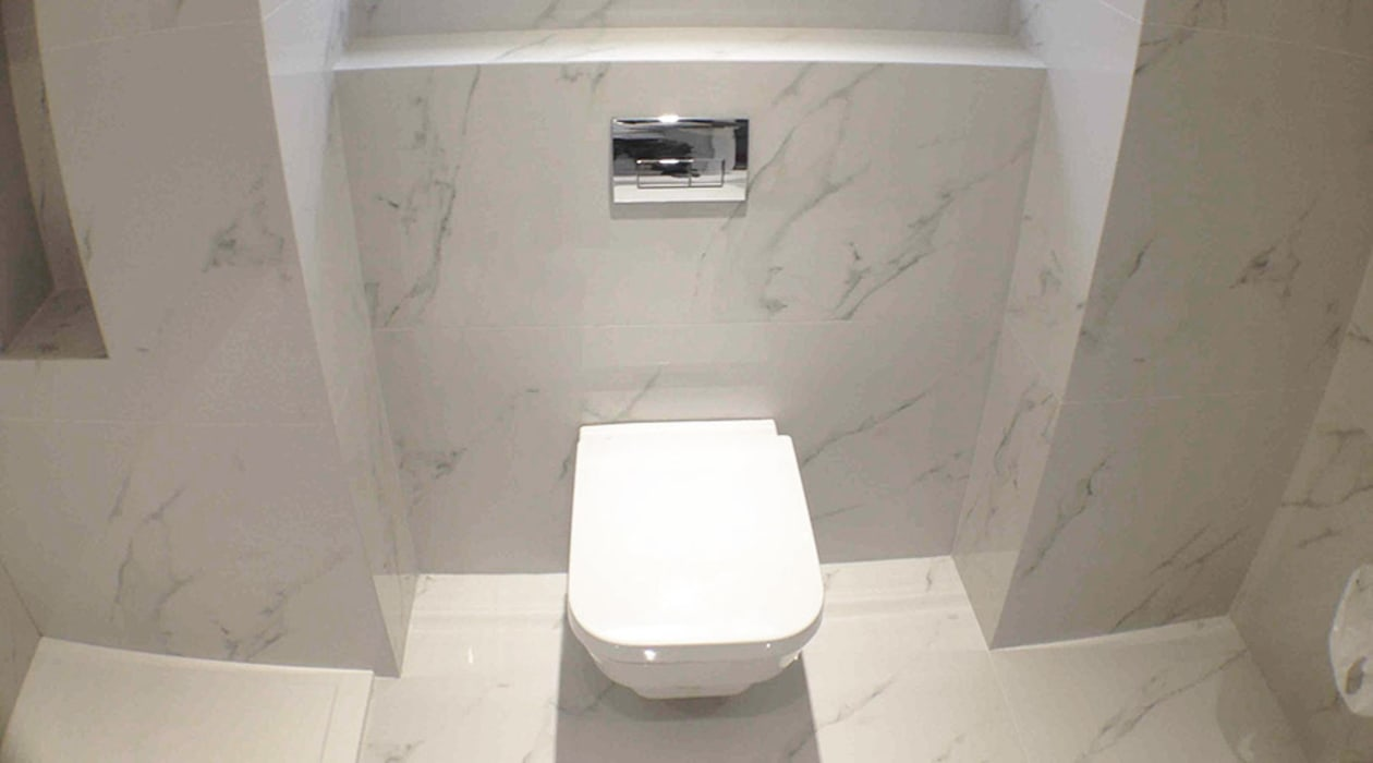 The Luxury Of Carrara Marble With The Practicality Of A Thin Porcelain Tile Modern Bathroom By Porcel Thin Modern Tiles Homify