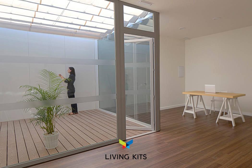 Oficina Moderna Con Patio Jardines De Estilo De Casas Modernas