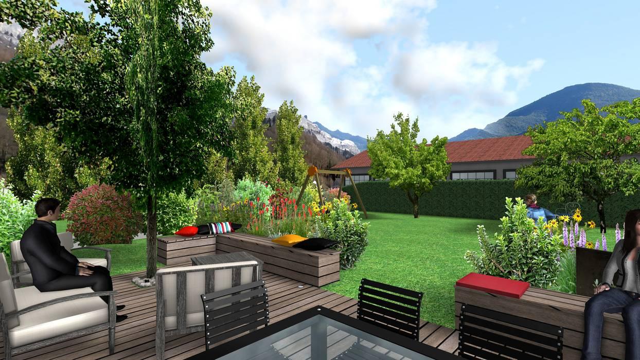 Jardin cocon Anthemis Bureau d'Etude Paysage Jardin moderne Bois