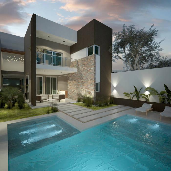 Diseño de patios pequeños con piscina : Piletas de estilo  por FILIPPIS/DIP - DISEÑO Y CONSTRUCCION,Moderno Hormigón