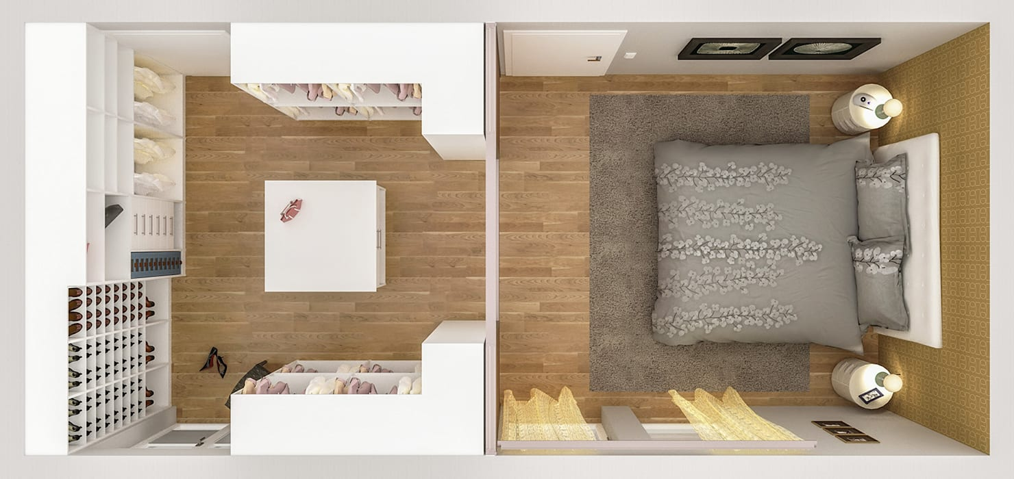 Schlafzimmer mit begehbarem kleiderschrank: modern von dörr ...