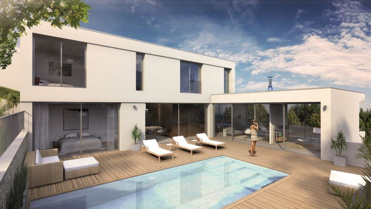 Maison d'architecte neuve avec terrain et piscine près de Lyon: Piscines  de style  par Groupe SOBÖ