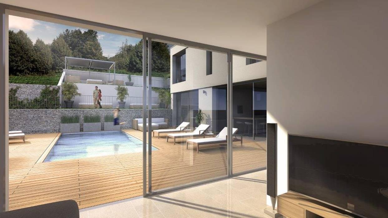 Maison d'architecte neuve avec terrain et piscine près de Lyon: Jardin de style de style Méditerranéen par Groupe SOBÖ