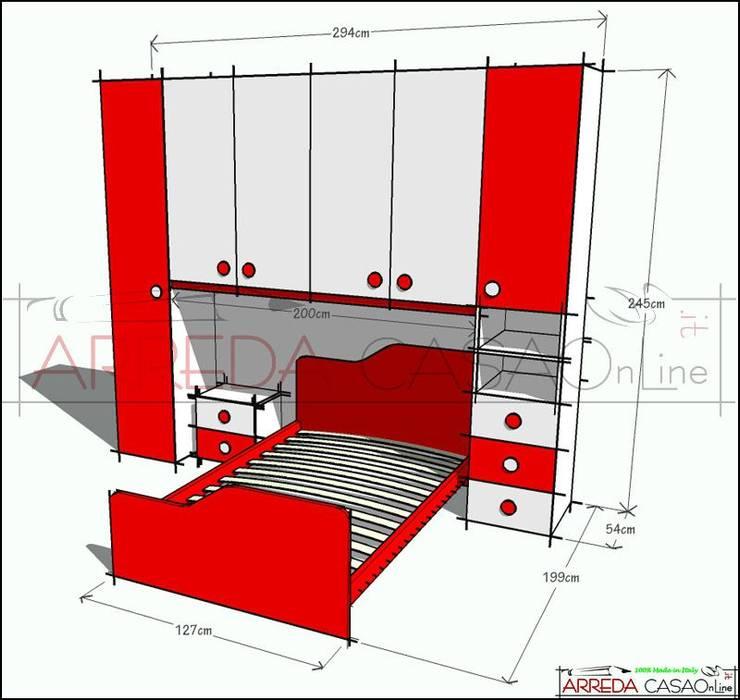 Cameretta rossa e bianca – soluzione su misura: camera da ...
