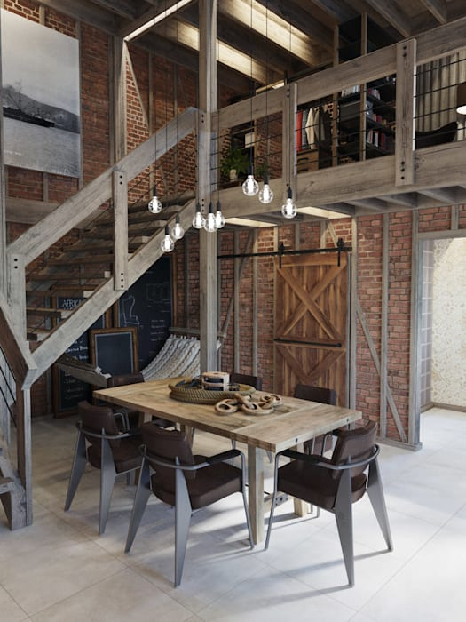 Industrial style dining room by Anton Medvedev Interiors Industrial