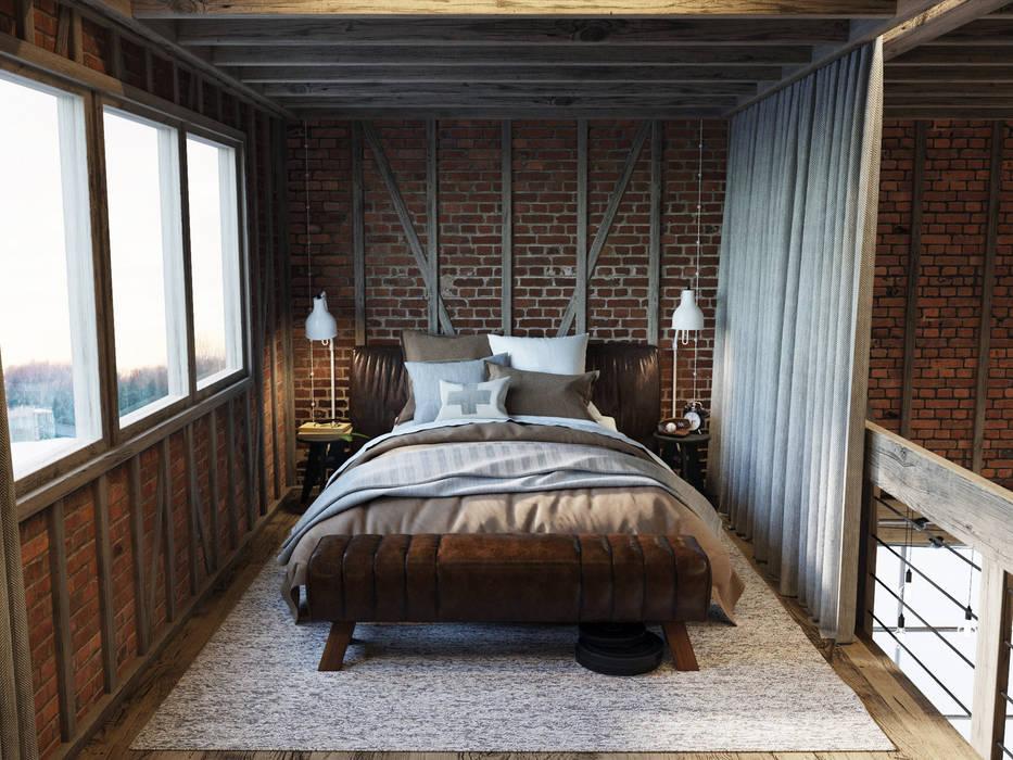 Амбар на окраине Кардиффа Спальня в стиле лофт от Anton Medvedev Interiors Лофт