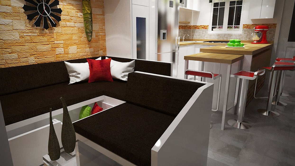 Diseño Sala-Cocina/Comedor : Salas / recibidores de estilo  por Rbritointeriorismo