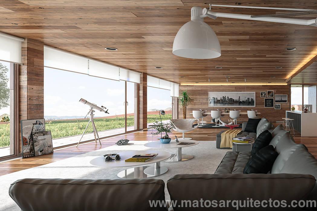 Salas / recibidores de estilo  por Matos Architects, Moderno Madera maciza Multicolor