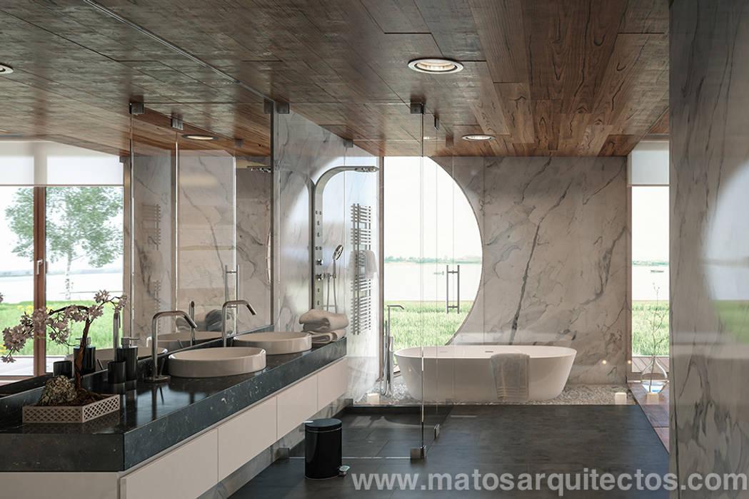Baños de estilo  por Matos Architects, Moderno Piedra