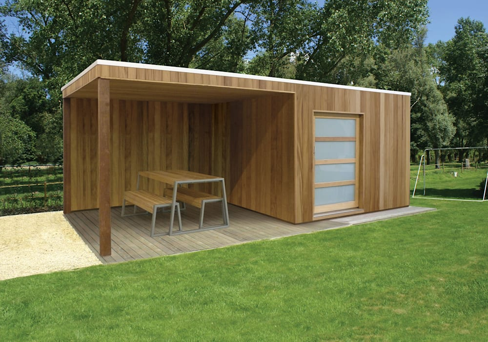 Iroko Box with canopy Modern garage/shed by Garden Affairs Ltd Modern Wood Wood effect