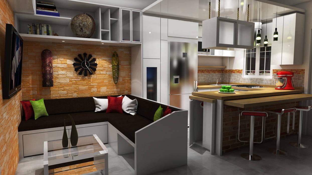 Dise o sala cocina comedor salas recibidores de estilo for Diseno para cocina comedor