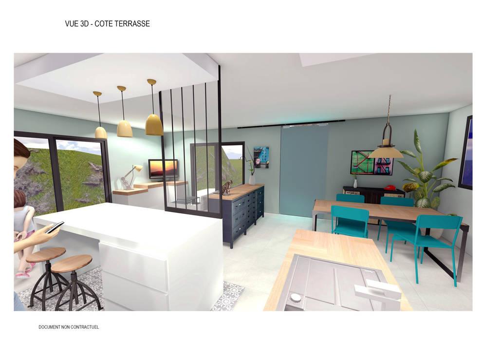 Aménagement intérieur d\'une pièce de vie style industrielle: cuisine ...