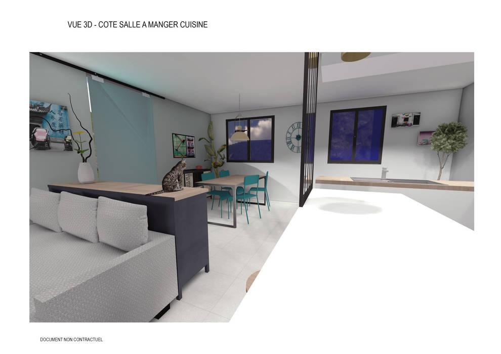 Aménagement intérieur d\'une pièce de vie style industrielle: salle à ...