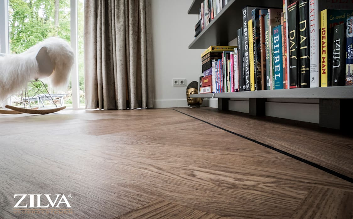 Moderne Visgraat Vloer : Detail pvc visgraat vloer met bies moderne woonkamer door zilva