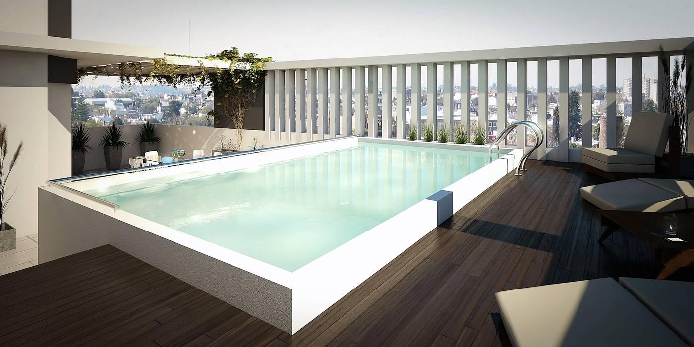 Terraza Piletas modernas: Ideas, imágenes y decoración de Arcadia Arquitectura Moderno