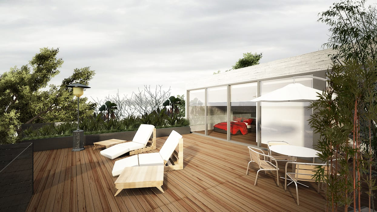 Sulkin Askenazi Modern balcony, veranda & terrace