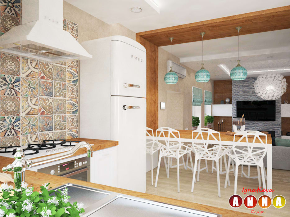 Мятное настроение Дизайн-студия Анны Игнатьевой Кухня в скандинавском стиле Бежевый