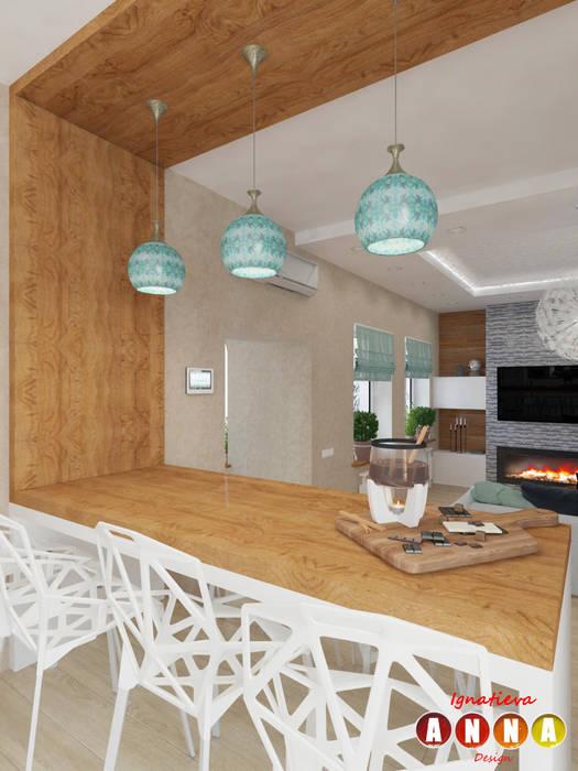Мятное настроение Дизайн-студия Анны Игнатьевой Столовая комната в скандинавском стиле Эффект древесины