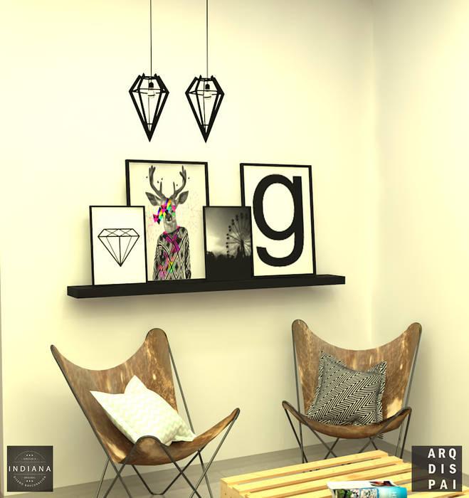 Living Neutro con elementos tipo escandinavos: Livings de estilo  por Arquitecto Ariel Ramírez