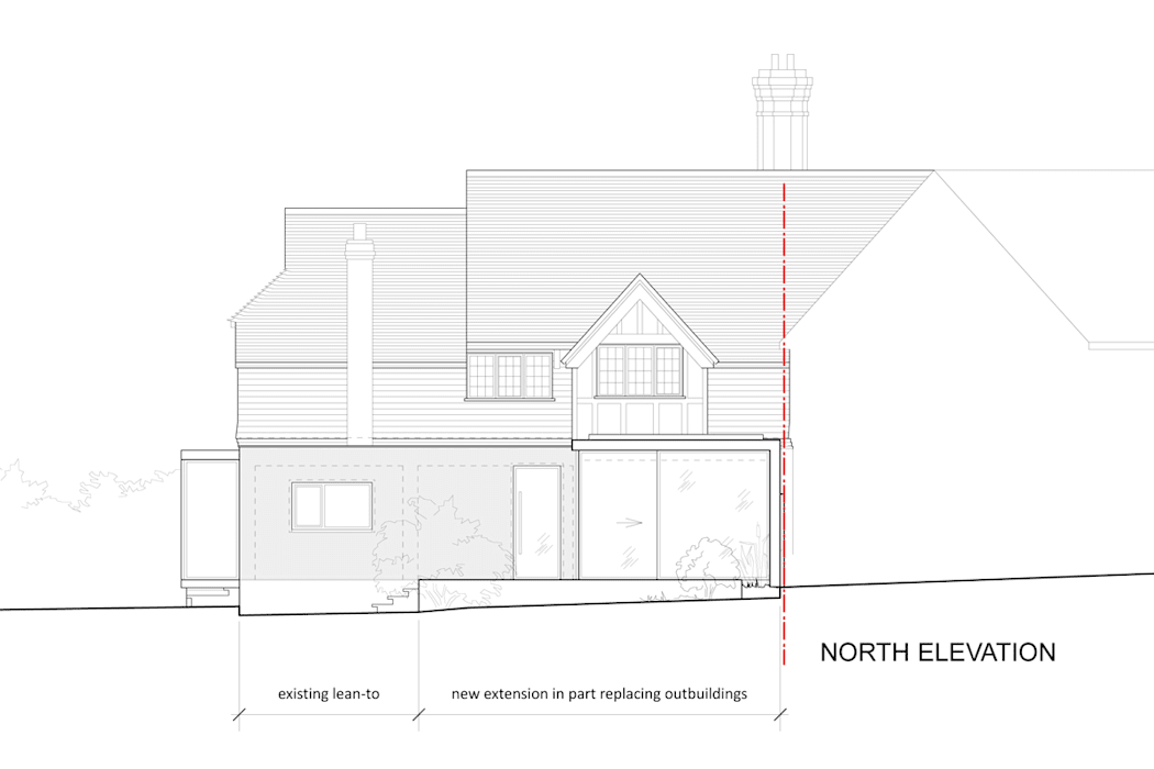 Elevation Drawing of Single Storey Glazed Extension: modern  by ArchitectureLIVE, Modern