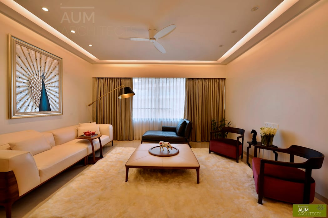 4 Bed Apartment Interior:  Living room by Aum Architects
