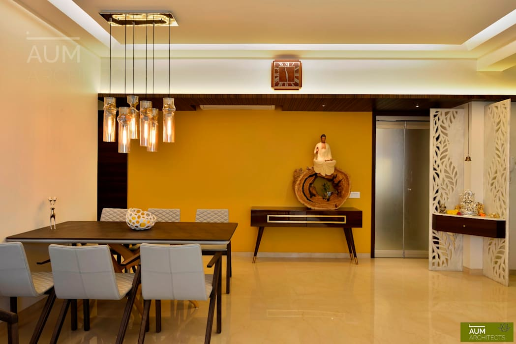 homify Minimalist dining room Marble Yellow