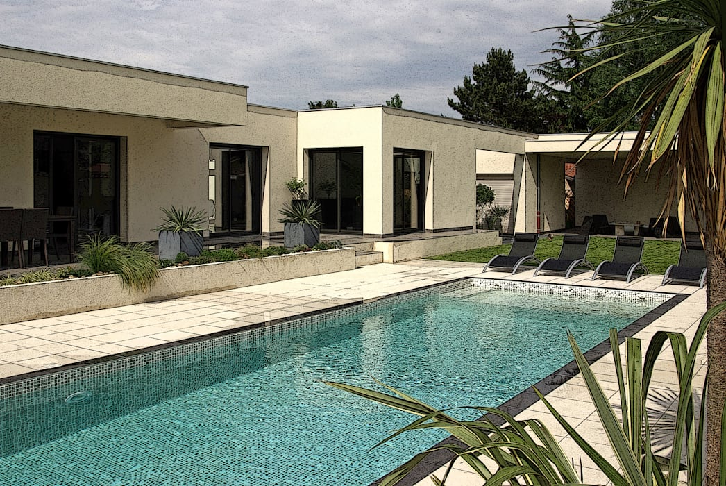 Extérieur avec piscine Jardin méditerranéen par Pierre Bernard Création Méditerranéen