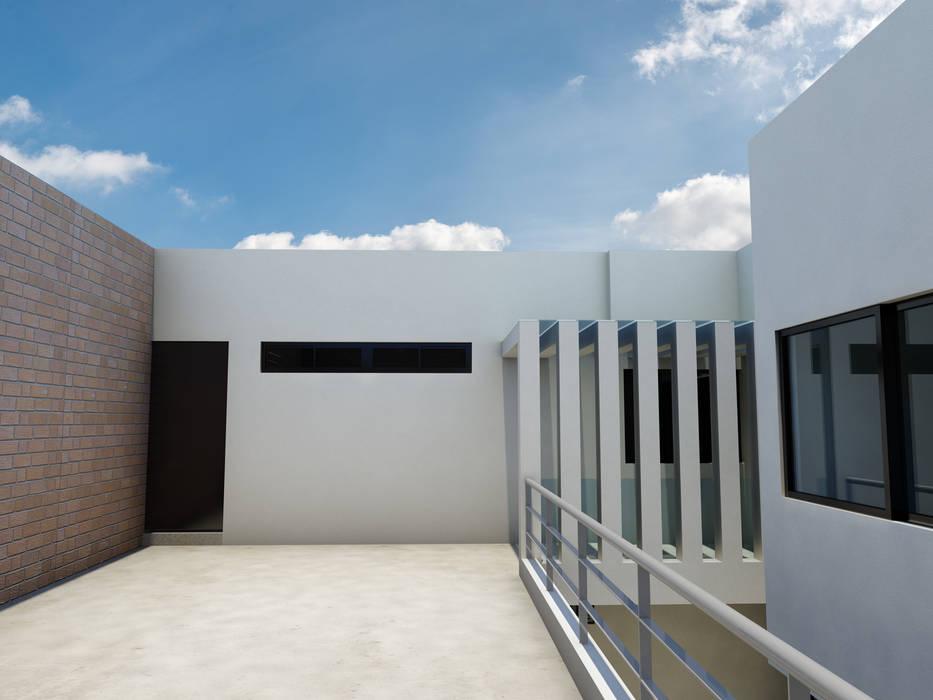 Puente de interconexión de espacios: Casas de estilo moderno por Flores Rojas Arquitectura