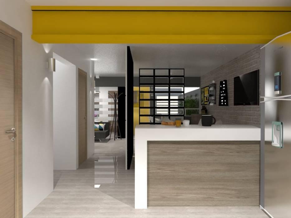 Corredores, halls e escadas ecléticos por AurEa 34 -Arquitectura tu Espacio- Eclético