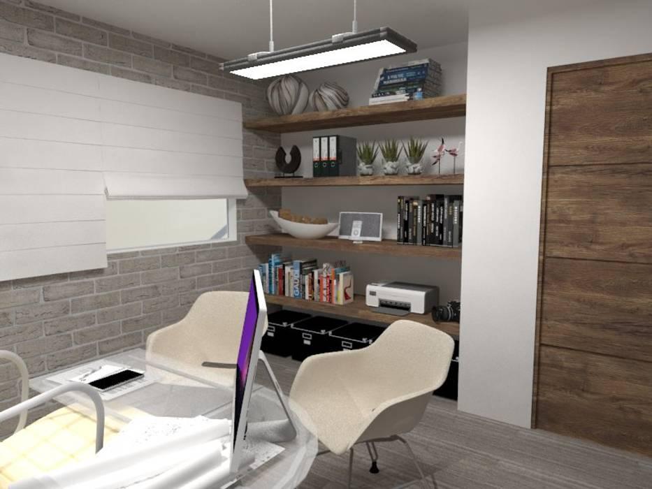 LIBRERO: Estudios y oficinas de estilo industrial por AurEa 34 -Arquitectura tu Espacio-